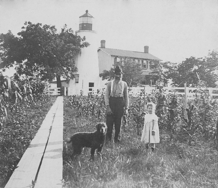 Turkey Point Lighthouse with man and girl 1890